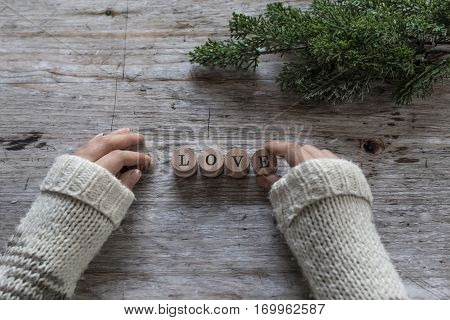 Woman Hands And Love Word