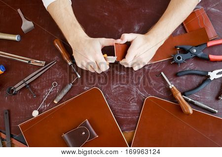 Making leather workpiece