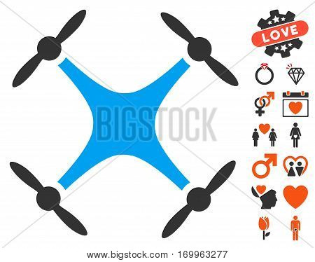 Quadcopter pictograph with bonus romantic graphic icons. Vector illustration style is flat iconic symbols for web design app user interfaces.