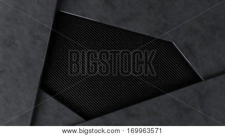 metal and carbon background frame, 3d illustration