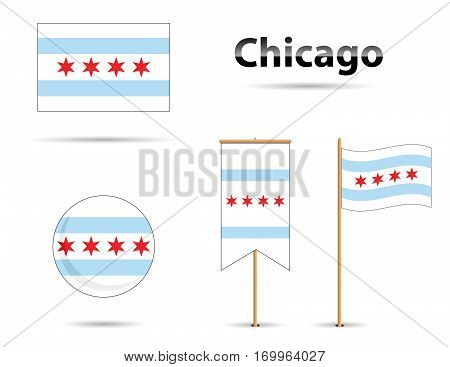 Chicago Illinois flag blue and red, USA