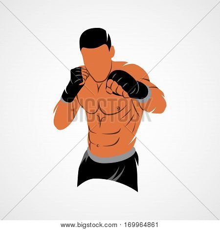 Abstract mixed martial arts fighter on a white background. Vector illustration.