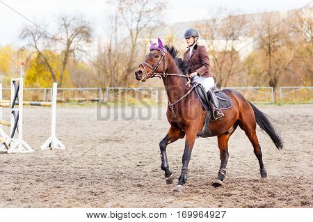 Young jockey girl riding horse on equestrian sport competition