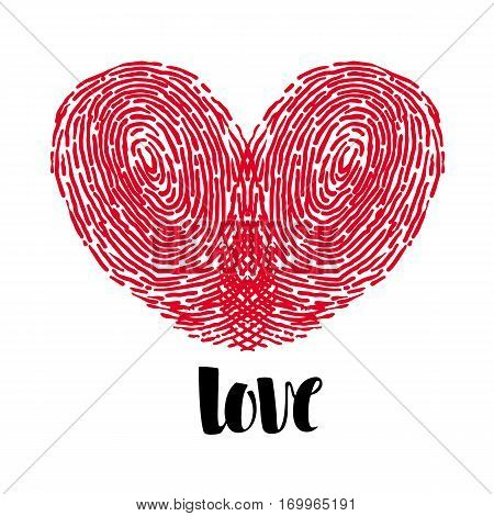 Holiday Love Heart card with painted fingerprints