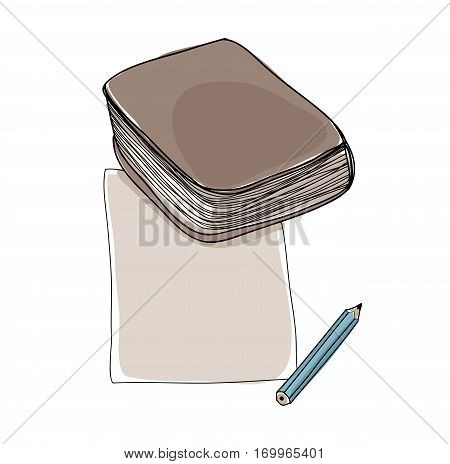 Vector Paper Note And Book Hand Drawn Cute Art Illustration