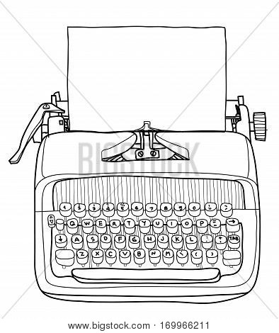 Vectot Typewriter Working Portable With Paper Hand Drawn Line Art Cute Illustration