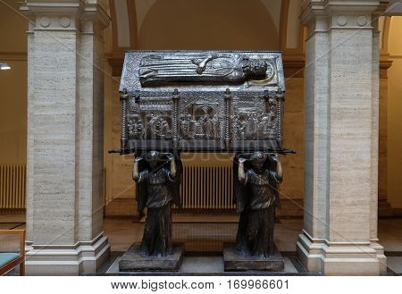 ZAGREB, CROATIA - APRIL 13: Saint Simeons chest at the atrium of Croatian Academy of Sciences and Arts in Zagreb, on April 13, 2016.