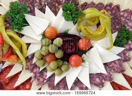 Classic Croatian starter plate with Fine Croatian sliced salami and cheese