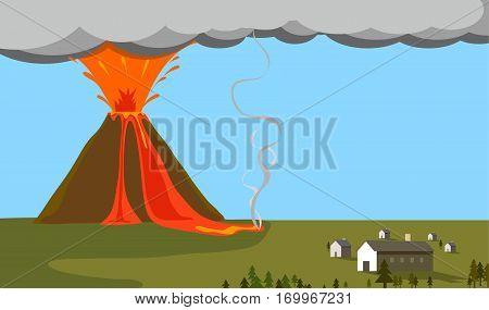 Volcano erupting exploded near a village vector illustration