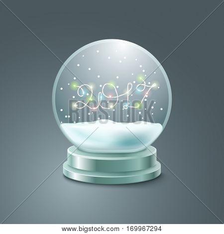 Crystal ball vector illustration. Christmas snow ball illustration. Happy new 2017