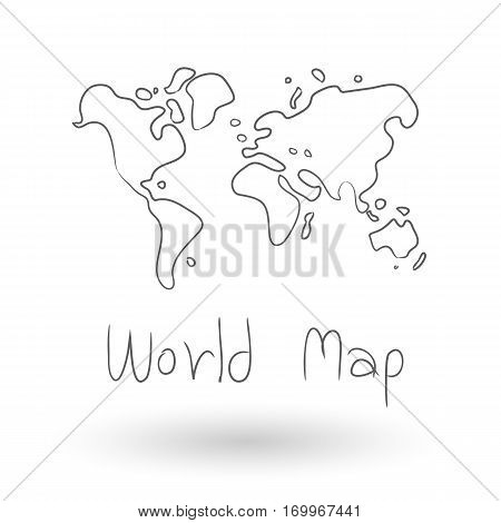 World Map freehand drawing VectorWorld Map illustration