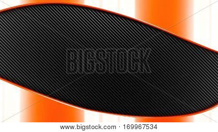 orange Metal and carbon black and grey  background 3d render. template