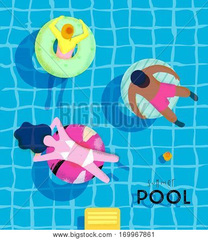 Summer pool poster with pool and people swimming on the swim ring bright colorful modern style