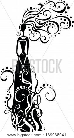 vector stylised silhouette of a girl in curls