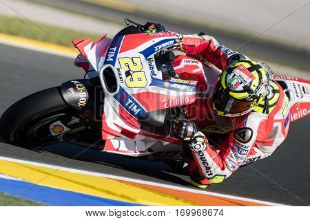 VALENCIA, SPAIN - NOV 11: Andrea Iannone during Motogp Grand Prix of the Comunidad Valencia on November 11, 2016 in Valencia, Spain.