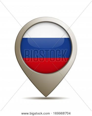 Vector Illustration Of A Straight Location Pin With Russian National Flag
