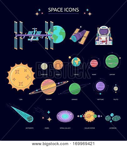 Set of space icons. The planets of the solar system astronaut space station on a background of outer space.