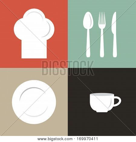 Vector Illustration Of Chef's Hat, Plate, Cup And Flatware