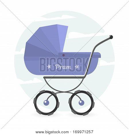 Pram vector illustration. Baby stroller Isolated on white background for graphic design, logo, Web site, social media, user interface, mobile app.