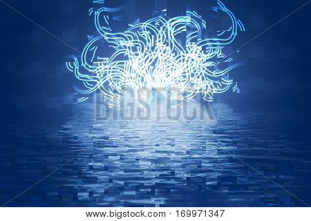 winding line with reflection in water on a blue background, abstract