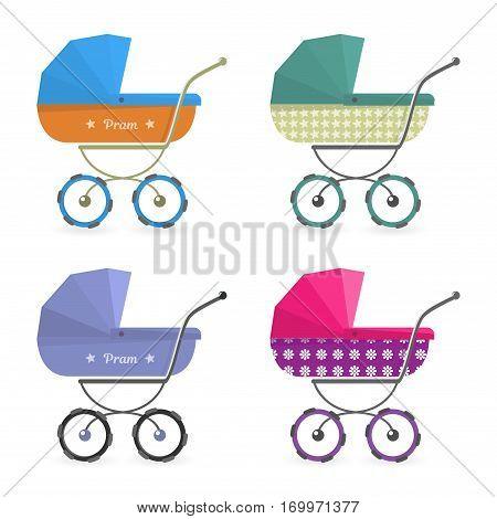Baby stroller set Isolated on white background. Cartoon pram vector illustration.