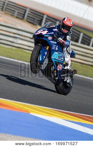VALENCIA, SPAIN - NOV 11: Mattia Pasini during Motogp Grand Prix of the Comunidad Valencia on November 11, 2016 in Valencia, Spain.
