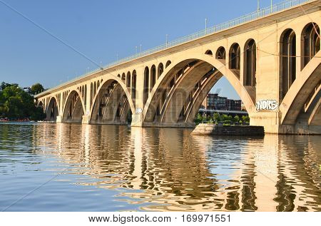 Key Bridge and the reflection over Potomac River - Washington DC United States