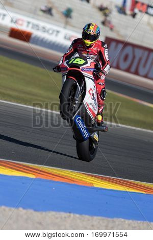 VALENCIA, SPAIN - NOV 11: Xavier Simeon during Motogp Grand Prix of the Comunidad Valencia on November 11, 2016 in Valencia, Spain.