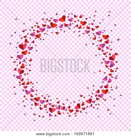 Romantic circle of small and big flat hearts on transparent background. Valentine card. Congratulation enamored day. Beautiful love confession. Vector illustration