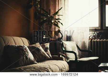 Calm ambience of an old room lifestyle details.
