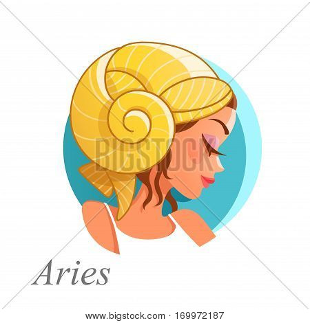 Beautiful woman as Aries zodiac sign. Vector illustration.