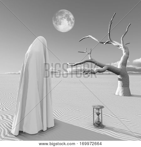 Surreal painting. Figure in white hijab stands at the desert.  3D Render  Some elements provided courtesy of NASA