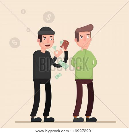 Thief stealing money while the man thinks what to spend it. Flat. Vector. Illustration.