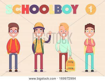 School Students. Vector illustration of a flat design. Flat.
