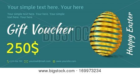 Holiday gift voucher. Easter coupon sales. Flyer turquoise color with golden Easter egg. Attractive discount for 250 dollars. Template A5 width.