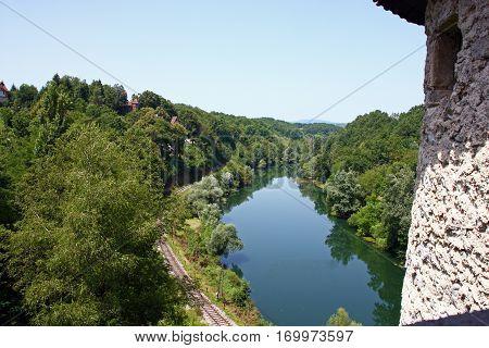Kupa River upstream from city of Ozalj