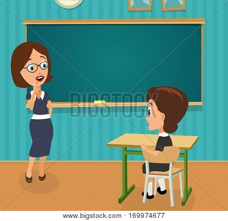 Surprised teacher with open mouth and schoolgirl sitting at a desk turning half-turned. Color vector flat illustration. Interior of classroom with desk and blackboard.