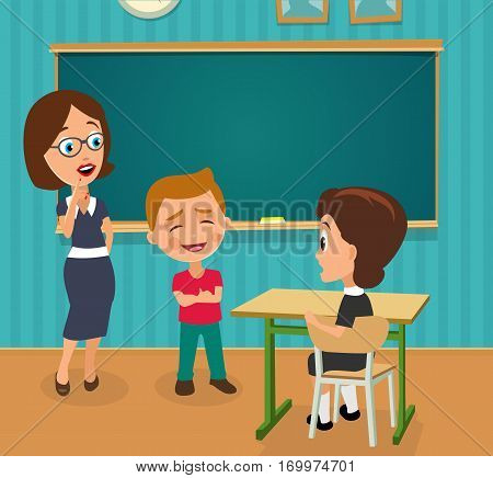 Surprised teacher with open mouth and schoolgirl sitting at a desk turning half-turned. Boy standing proud and happy. Color vector flat illustration. Interior of classroom with desk and blackboard.