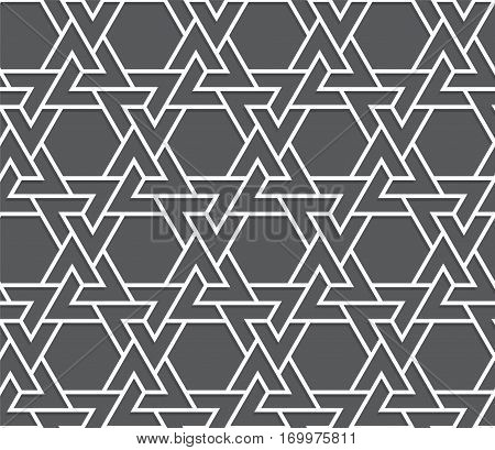 Islamic black and white triangle pattern. Seamless vector geometric background in arabian style