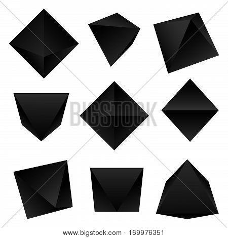 Vector Glossy Platonic Solids Set.