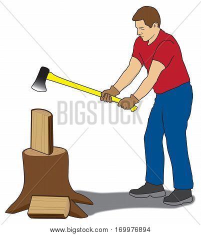 Man is using axe to split firewood