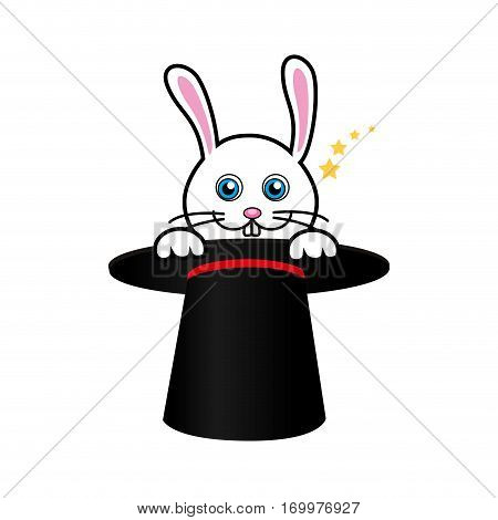 cute rabbit with magic hat vector illustration design