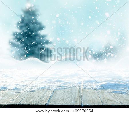 Merry Christmas and happy New Year greeting background with table .Winter landscape with fir tree .