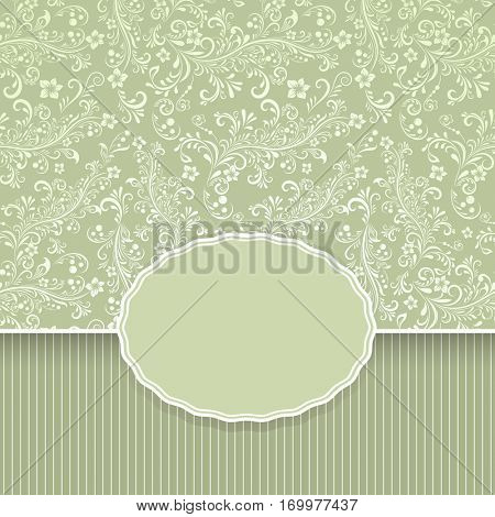 Seamless dark green floral vintage background with copy space.