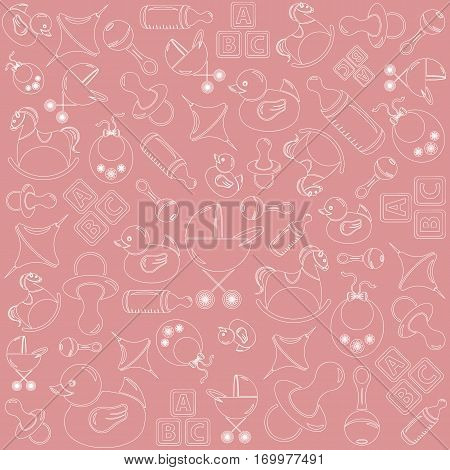Pink pattern on the theme of birth and babies.
