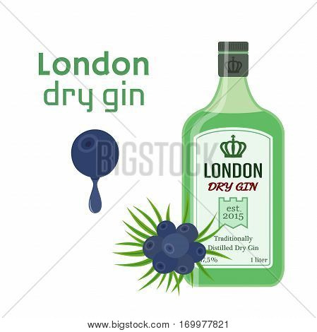 Traditional dry gin in green bottle with berries - juniper. Alcohol drink in flat vector style.