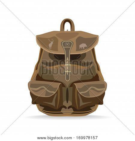 Vector hunter backpack isolated on white background. Flat style design illustration.