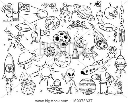 Collection of aliens, UFOs and space vector doodles
