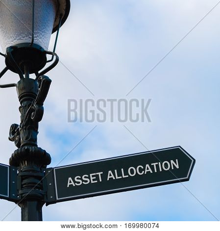 Asset Allocation Directional Sign On Guidepost