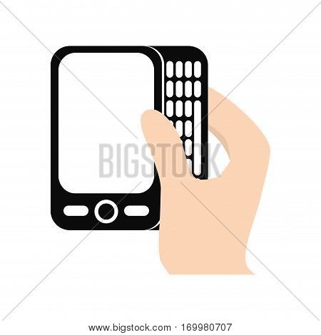 hand touch smart phone screen electronic vector illustration eps 10